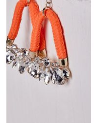 Missguided - Crystal Rope Hoop Earrings Orange - Lyst