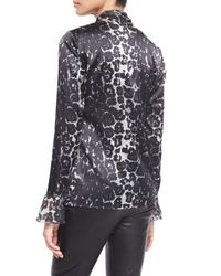 St. John - Multicolor Stamped Leopard-print Charmeuse Blouse - Lyst