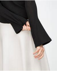 Zara | Black Bell Sleeve Top | Lyst