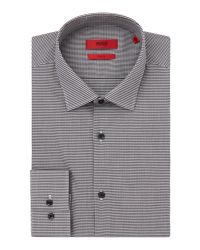 HUGO | Black Slim Fit Business Gingham Shirt for Men | Lyst
