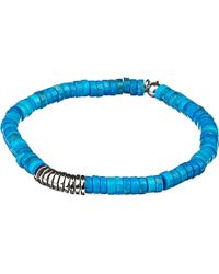 Tateossian - Blue Bamboo Bead Disc Bracelet for Men - Lyst