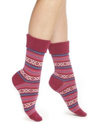 Hot Sox | Red Fair Isle Crew Socks | Lyst