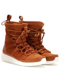 18d460401f69 Lyst - Nike Roshe One Hi Suede Sneaker Boots in Brown