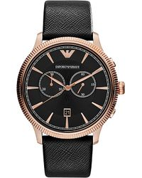 Emporio Armani - Black Ar1792 Stainless Steel And Leather Watch - Lyst