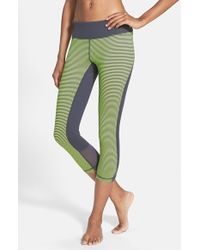 Zella | Gray 'live In - Point Break' Slim Fit Mesh Inset Capris | Lyst
