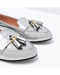 Zara | Metallic Loafers With Tassels | Lyst