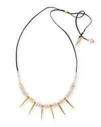 Lizzie Fortunato - Black Pyramid Ii Pearl & Spike Necklace - Lyst
