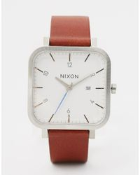 Nixon - Metallic Ragnar Square Leather Strap Watch A939 for Men - Lyst