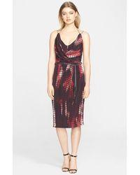 Kempner - Red 'olivia' Tassel Trim Silk Wrap Dress - Lyst