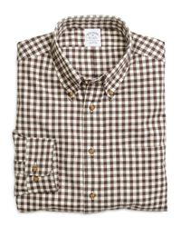 Brooks Brothers - Brown Regular Fit Flannel Gingham Sport Shirt for Men - Lyst