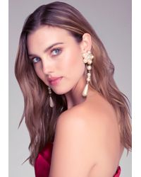Bebe - Natural Pearl Cluster Drop Earrings - Lyst