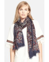 Tory Burch - Blue 'Dahlia' Wool Scarf - Lyst