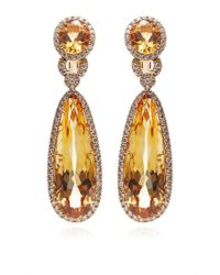 Gioia | Yellow Citrine and Diamond Drop Earrings | Lyst