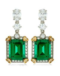 Carat* | Green 4ct Emerald Cut Drop Earrings | Lyst