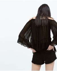 Zara | Black Off-shoulder Top | Lyst