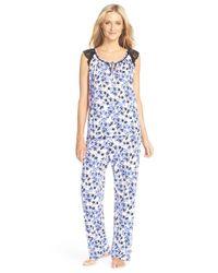Oscar de la Renta | Blue Oscar De La Renta Silky Knit Pajamas | Lyst