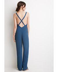 Forever 21 - Blue Crisscross Back Crepe Jumpsuit - Lyst