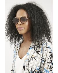 TOPSHOP | Brown Luna Brow Bar Round Sunglasses | Lyst