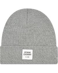 Opening Ceremony | Gray Logo Knitted Cotton Beanie, Men's, Light Grey for Men | Lyst