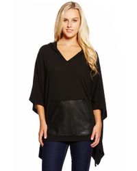 Karen Kane | Black Faux Leather Kangaroo Pocket Hooded Poncho | Lyst
