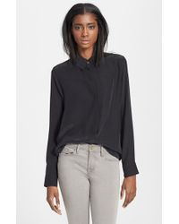 FRAME - Black 'le Classic' Washed Silk Charmeuse Shirt - Lyst