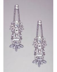 Bebe - Metallic Floral Crystal Earrings - Lyst