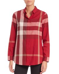Burberry - Pink Check-print Blouse - Lyst