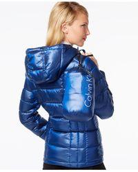 Calvin Klein | Black Metallic Packable Down Puffer Coat | Lyst
