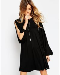 ASOS | Black Swing Dress With Split Sleeve And Lace Up Back | Lyst