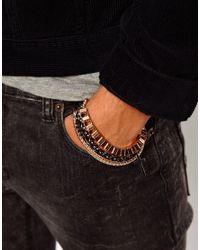 ASOS - Black Bracelet Pack with Metal Chain for Men - Lyst