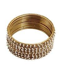 Chamak by Priya Kakkar - Metallic Set Of 12 Gold And White Thin Beaded Bangles - Lyst