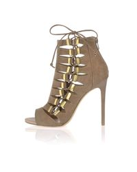 River Island - Natural Dark Beige Lace Up Shoe Boots - Lyst