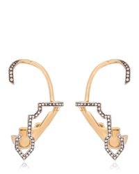 Schield - Metallic Cyborg Line Sculpture Pave Earrings - Lyst