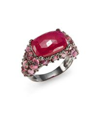 Bavna - Red Diamond, Faux Ruby & Sterling Silver Ring - Lyst