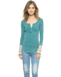 Free People - Alpine Cuff Newbie Thermal Top - Royal Blue - Lyst