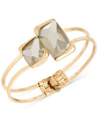 Kenneth Cole - Metallic Gold-tone Double Stone Bangle Bracelet - Lyst