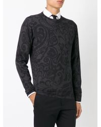 Etro - Gray Paisley Print Sweater for Men - Lyst
