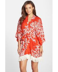 Kensie - Multicolor Print Fringe Kimono - Lyst