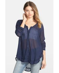 Volcom - Blue 'trailin' By' Sheer Cotton Voile Top - Lyst