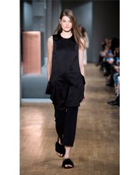 Tibi | Black Satin Layered Tunic With Purl Merrow Edge | Lyst