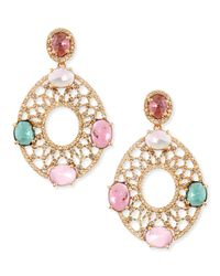 Bavna | 18k Yellow Gold Oval Earrings With Diamonds And Multicolor Tourmaline | Lyst