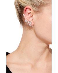 Runa - Metallic Cubic Mood Gold, Crystal, And Sapphire Ear Cuff - Lyst