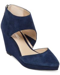 BCBGeneration | Blue Millbook Suede Wedge Booties | Lyst