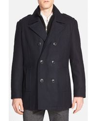 Andrew Marc | Blue Marc New York By 'joshua' Double Breasted Wool Blend Peacoat With Inset Bib for Men | Lyst