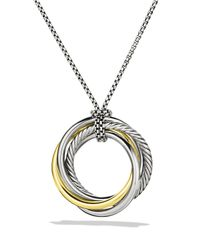 David Yurman | Metallic Crossover Pendant With Gold On Chain | Lyst