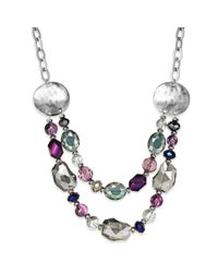 Style & Co. | Multicolor Silvertone Faceted Bead and Disc Tworow Frontal Necklace | Lyst