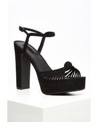 Forever 21 | Black Strappy Faux Suede Platform Sandals | Lyst