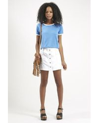 Topshop Petite Moto Denim Button Front A-line Skirt in White | Lyst