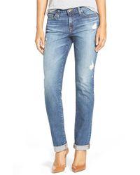 Big Star - Blue 'kate' Distressed Straight Leg Jeans - Lyst