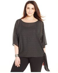 Michael Kors | Black Michael Plus Size Printed Side-tie Top | Lyst